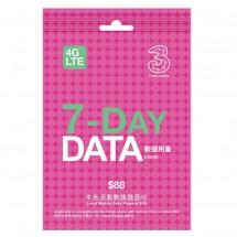 3香港 7天3.5GB數據4G LTE儲值卡 (送通話)