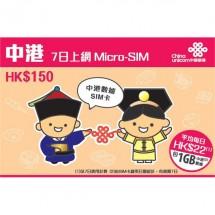 中國聯通 中港7日1GB上網卡